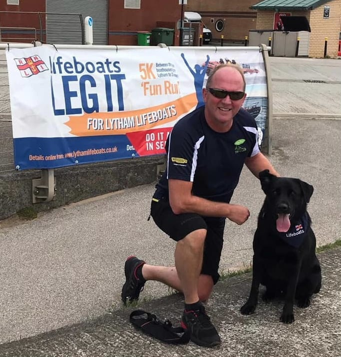 Graham Schofield and Toby at the finish poster