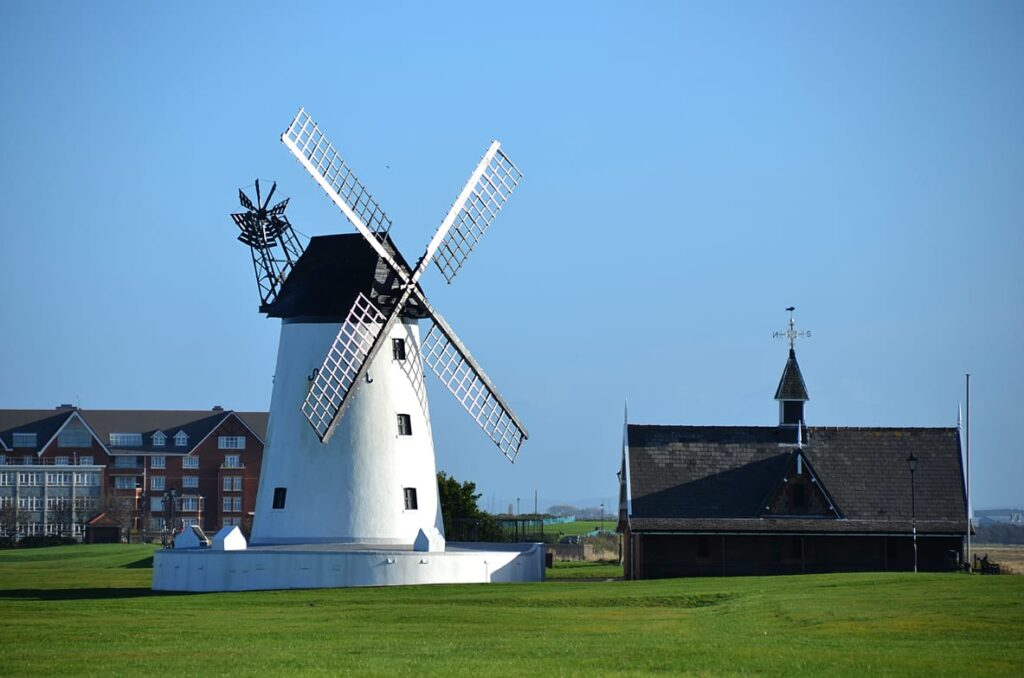Lytham Windmill and Old Lifeboat House on Lytham Green