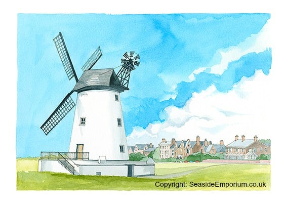 Watercolour painting of Lytham Windmill, from Seaside Emporium