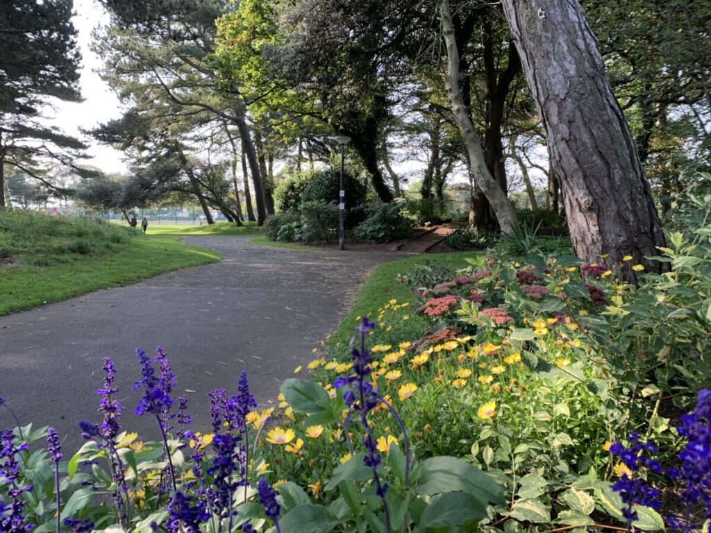 Inside the park at the back entrance of Lowther Gardens