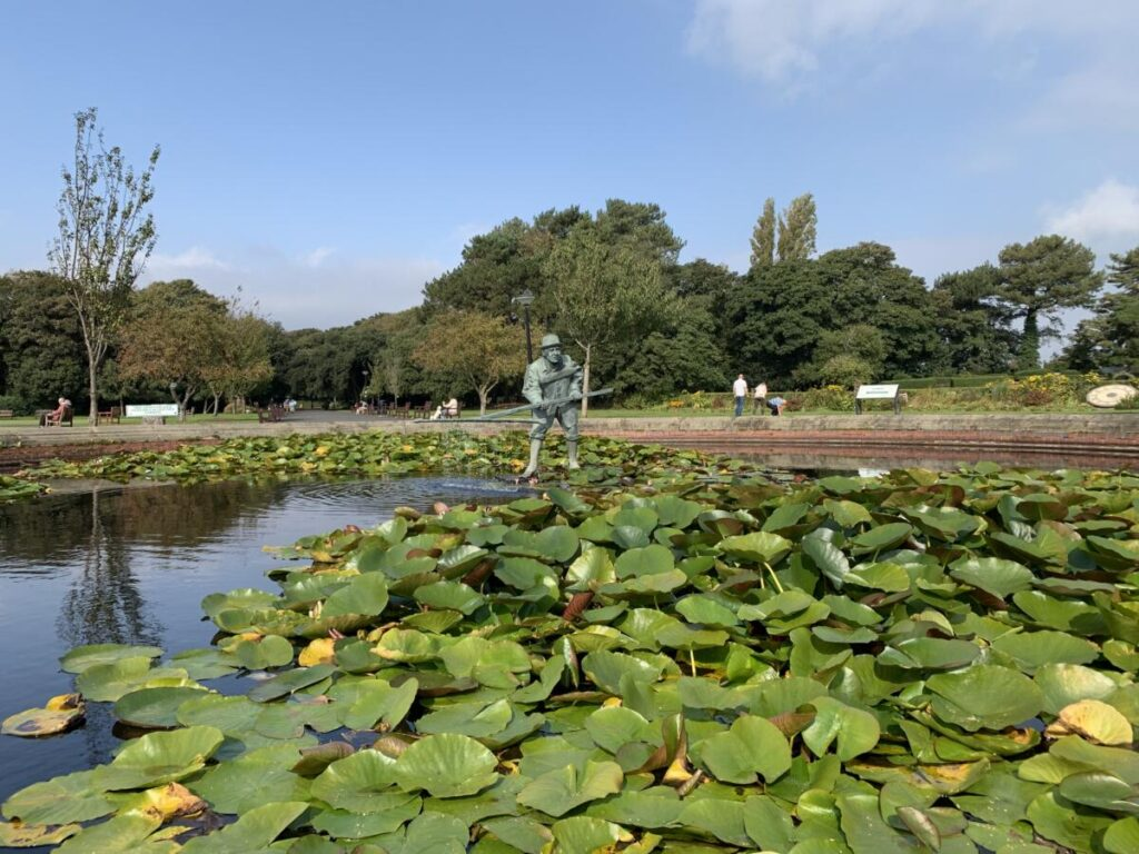 Shrimper in the fish pond in the gardens