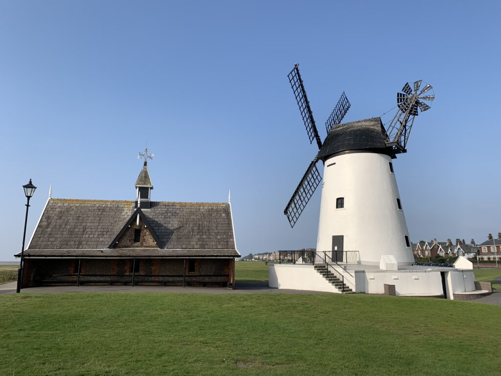 Lytham Windmill in the morning with the sun on the other side!