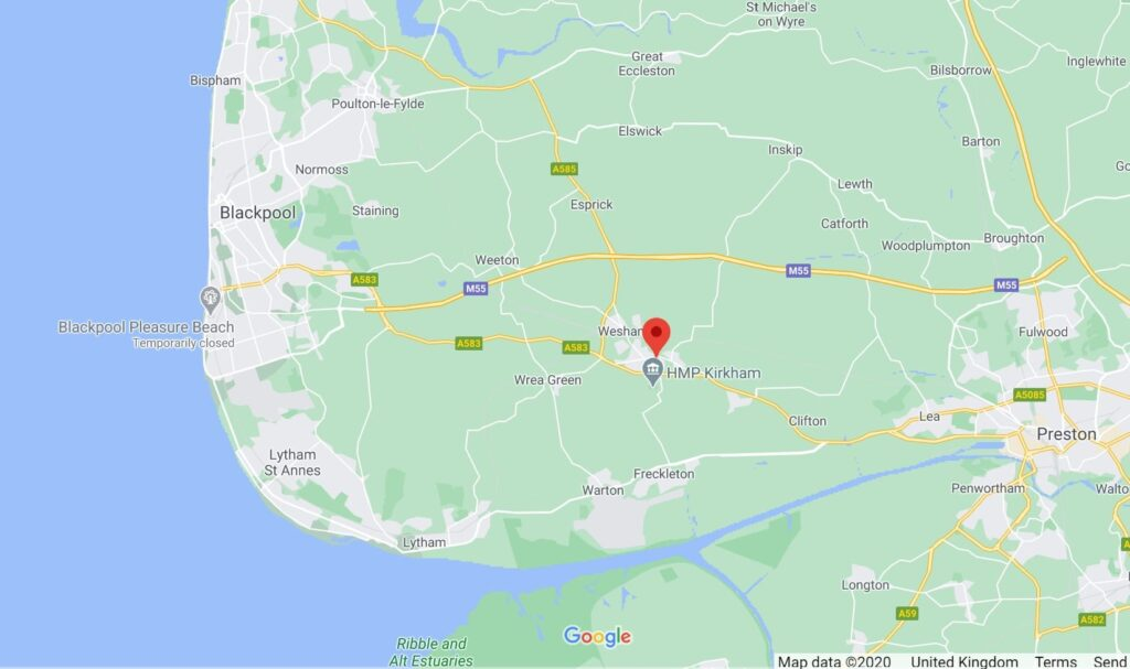 Google map showing the location of Kirkham